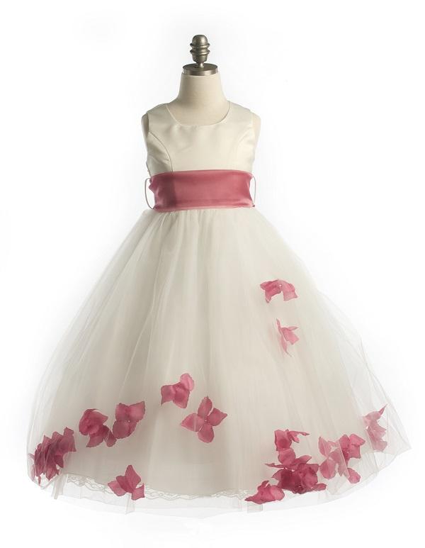 Satin bodice petal flower girl dress with organza sash mightylinksfo