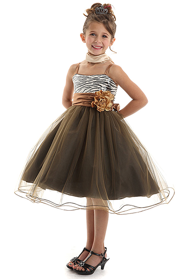 Leopard Flower Girl Wedding Dress