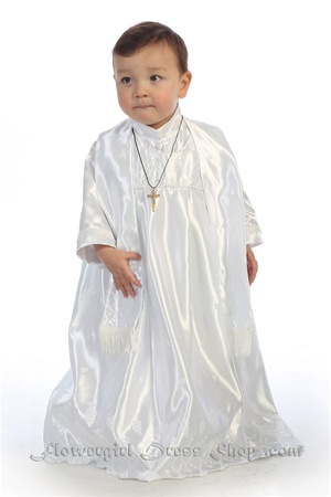 Christening Gown #AG260 : Luxurious Embroidered Satin Boy's Romper.