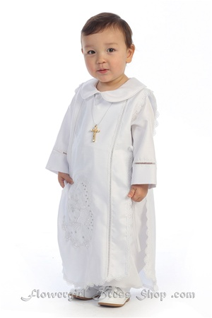 Christening Gown #AG264 : Beautiful shantung poly boy's romper.