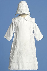 "Christening Gown #AG306 : Cute Poly Shantung 3-PC Set w/ ""Guardian Angel"" Embroidered In Front"