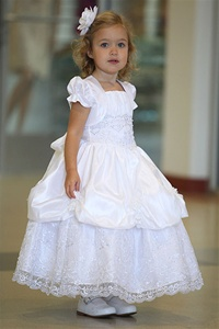 Flower Girl Dresses #AG322 : Gorgeous Taffeta Dress w/ Embroidered Organza Overlay, Picked-Up Skirt, & Flower Adornment Dress