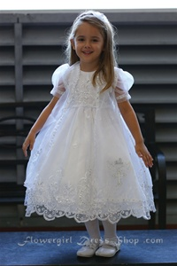 Flower Girl Dresses #AG330 : Dazzling Organza Overlay Dress W/ Image Of Two Doves & Cross.