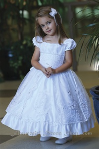 Flower Girl Dresses #AG334 : Lovely Cap Sleeve Satin Dress W/ Split Apron Skirt.