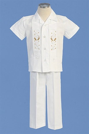 Christening Gown #AG413 : Beautiful Cotton Boy's Pants Set w/ Stole-Like Embroidery