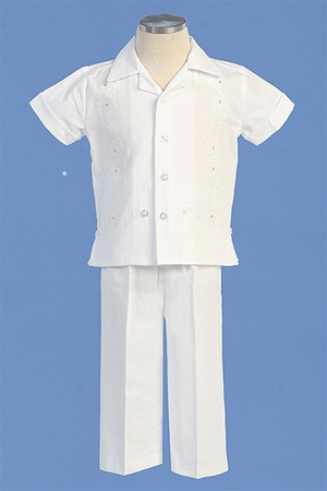 Christening Gown #AG424 : Gorgeous Boy's Cotton Pants Set w/Embroidery & Rhinestones