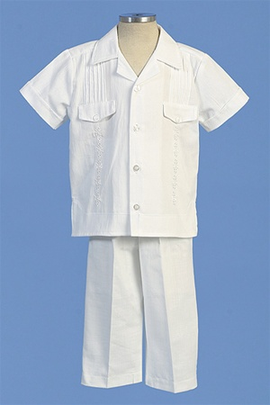 Christening Gown #AG441 : Adorable Cotton Pants Set w/ Pleat-Like Design & Stylish Upper Pockets