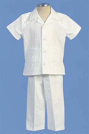 Christening Gown #AG445 : Simple Linen Boy's Pants Set w/ Pleat-Like Shirt & Pockets