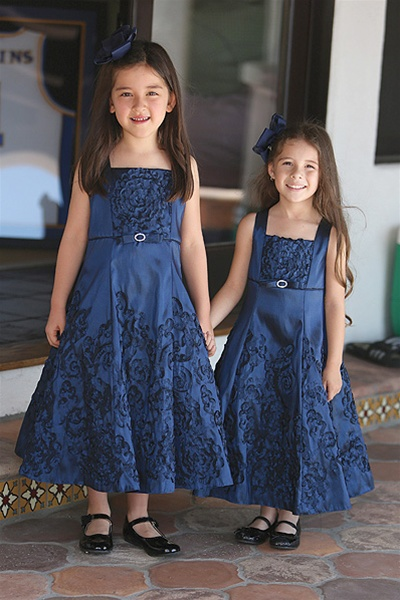 bd2faa9c8bc Flower Girl Dresses  AG572N   Beautiful A-Lined Taffeta Dress w  Flower  Pattern Larger Photo .