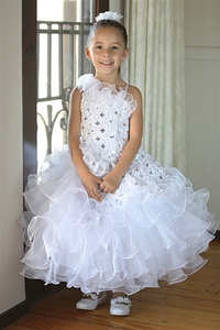 Flower Girl Dresses #AG633 : Stunning One-Shouldered Dress w/ Embroidery & Sequined Bodice w/ Layered Ruffled Girl Dress