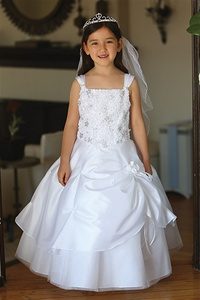Flower Girl Dresses #AG643 : Beautiful Taffeta Dress Embellished Bodice w/ Flower Pattern & Sequins & Glittered Tulle Underlay