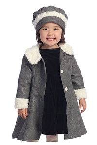 #AG710 : Fur Collar Coat with Princess Seams, Inverted Pleats