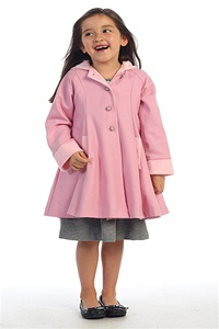 #AG772P : Sweet Wool/Poly Blend Swing Coat w/ Attached Hood