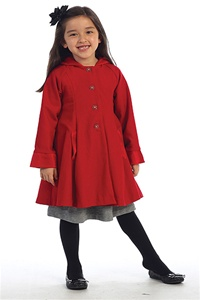 #AG772R : Sweet Wool/Poly Blend Swing Coat w/ Attached Hood
