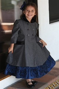 #AG774G : Adorable Wool/Poly Blend Double-Breasted Coat