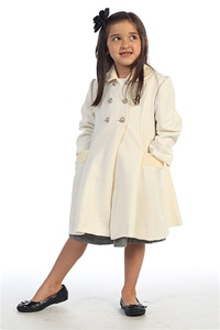 #AG774I : Adorable Wool/Poly Blend Double-Breasted Coat