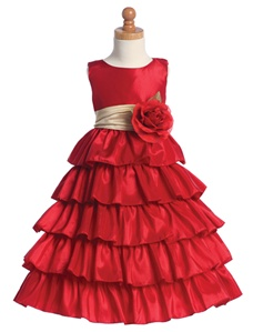 Flower Girl Dresses #BL203RD: Sleeveless Taffeta Bodice and Layered Skirt w/ Detachable Flowers and Sash