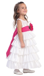Flower Girl Dresses #BL203WH: Sleeveless Taffeta Bodice and Layered Skirt w/ Detachable Flowers and Sash