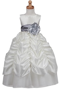 Flower Girl Dresses # BL216IS : Gorgeous Taffeta Dress, Sheared Skirt w/ Removable Sash and Flower