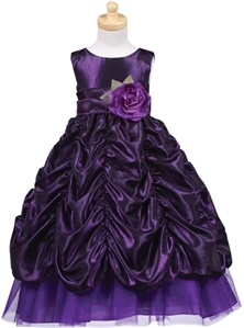 Flower Girl Dresses # BL216PP : Gorgeous Taffeta Dress, Sheared Skirt w/ Removable Sash and Flower