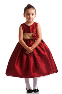 Flower Girl Dresses #C234RD : Poly Silk Sleeveless Dress with Organza Sash