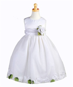 Flower Girl Dresses #C596WH : Satin Bodice Petal Flower Girl Dress with Organza Sash