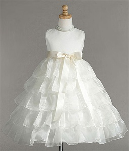 Flower Girl Dresses #C882IV : Sleeveless Organza Layered Dress w/Different Color Ribbon Sash