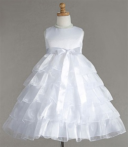 Flower Girl Dresses #C882WH : Sleeveless Organza Layered Dress w/Different Color Ribbon Sash