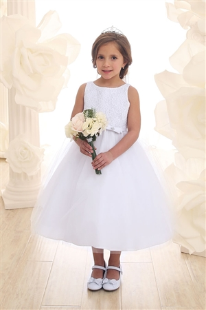 Flower Girl Dress with Lace Bodice (#CA2459)
