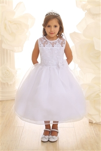 Flower Girl Dresses #CA2461 : Flower Girl Dress with Lace Bodice