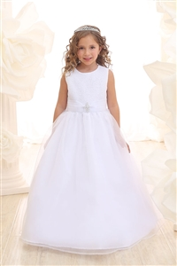 Flower Girl Dresses #CA3636  : Simple Floor length Dress with Glitter bodice and Organza Sash