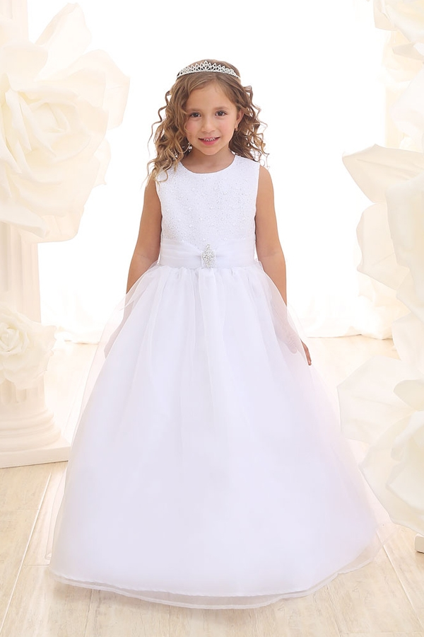 e35d7d2086 Flower Girl Dresses  CA3636   Simple Floor length Dress with Glitter bodice  and Organza Sash Larger Photo .