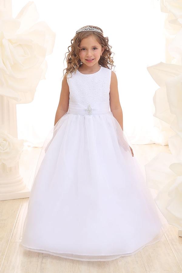 Flower Girl Dresses Ca3636 Simple Floor Length Dress With Glitter