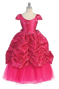 Flower Girl Dress #CA596F : Gorgeous Cap Sleeved Taffeta Sequinsed Dress w/ Embroidery