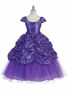 Flower Girl Dress #CA596P : Gorgeous Cap Sleeved Taffeta Sequinsed Dress w/ Embroidery