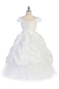 Flower Girl Dress #CA596W : Gorgeous Cap Sleeved Taffeta Sequinsed Dress w/ Embroidery