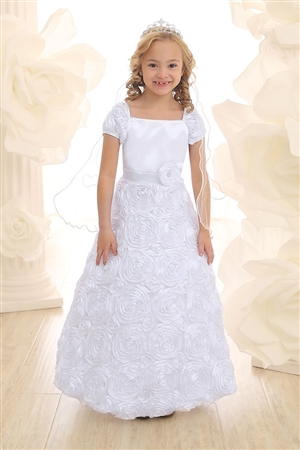 Communion Girl Dress #CA702 : Ribbon Embroidered Long Dress