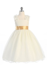 Flower Girl Dresses #CA909V : Sleeveless Mesh Dress W/ Choice of sash color options