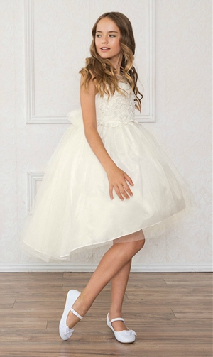 #CAD-758IV : High-Low Tulle Dress with Beaded and Embroidered Bodice