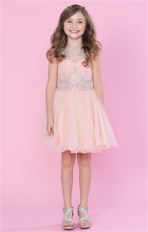 #CATY003 blush pink : Beautifully Beaded Short Party Dress