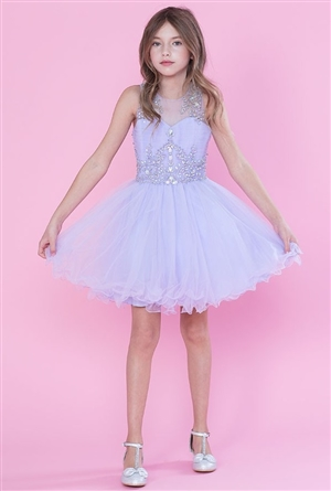 #CATY003 lilac : Beautifully Beaded Short Party Dress