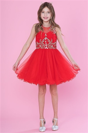 #CATY003 red : Beautifully Beaded Short Party Dress