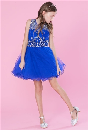 #CATY003 royal blue : Beautifully Beaded Short Party Dress