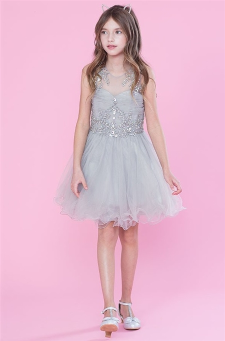 #CATY003 silver : Beautifully Beaded Short Party Dress