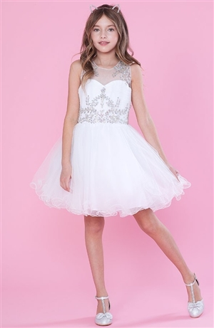 #CATY003 white : Beautifully Beaded Short Party Dress
