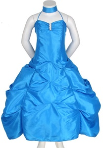 Flower Girl Dresses #CD1026TU : Spaghetti Strap Taffeta Long Pick-Up Dress