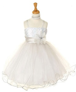 Flower Girl Dresses # CD106SL: Two Tone Sequence Mesh Illusion Dress