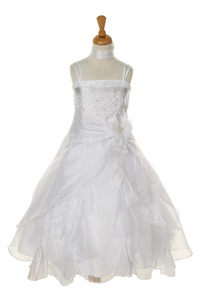 Flower Girl Dresses#CD1101B : Dazzling Two Tone Crystal Organza Long Ruffle Dress