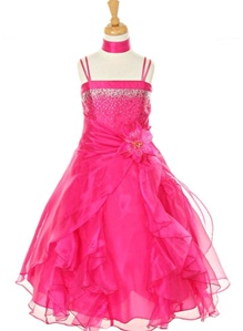 Flower Girl Dresses#CD1101C : Dazzling Two Tone Crystal Organza Long Ruffle Dress