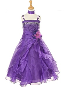 Flower Girl Dresses#CD1101D : Dazzling Two Tone Crystal Organza Long Ruffle Dress